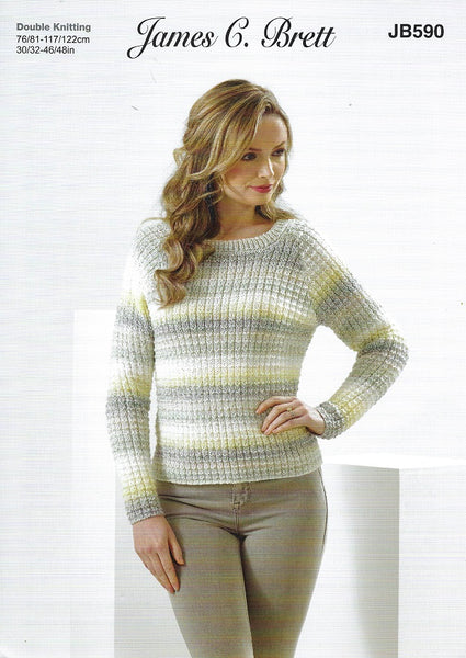 James C Brett JB590 - Ladies Sweater in DK Pattern