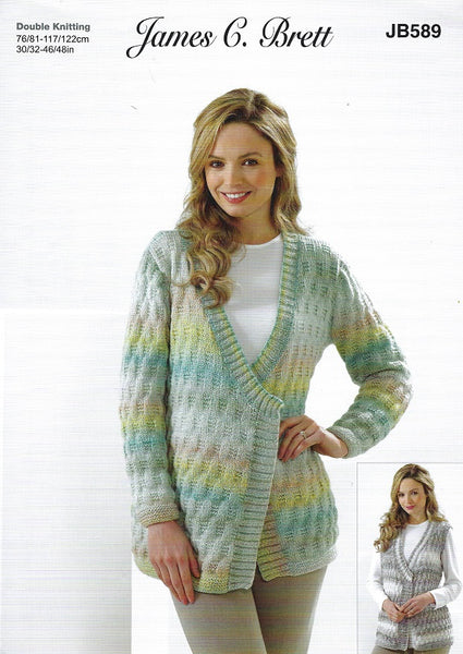 James C Brett JB589 - Ladies Cardigan & Waistcoat in DK Pattern