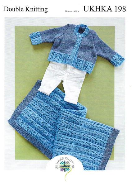 UKHKA 198 - Babies Cardigan & Blanket in DK Knitting Pattern