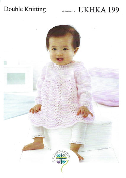 UKHKA 199 - Babies Dress & Jacket in DK Knitting Pattern