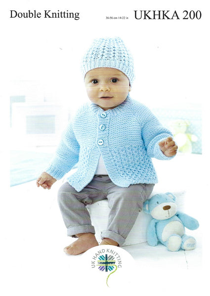 UKHKA 200 - Babies Cardigan, Hat & Cushion in DK Knitting Pattern