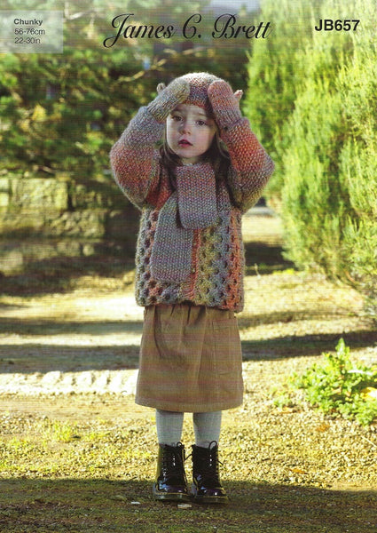 James C Brett JB657 - Childrens Jacket, Scarf, Hat & Mittens in Marble Chunky Pattern
