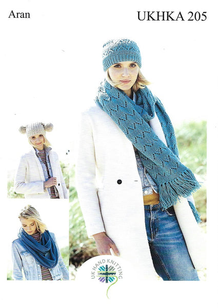 UKHKA 205 - Hat & Scarves in Aran Knitting Pattern