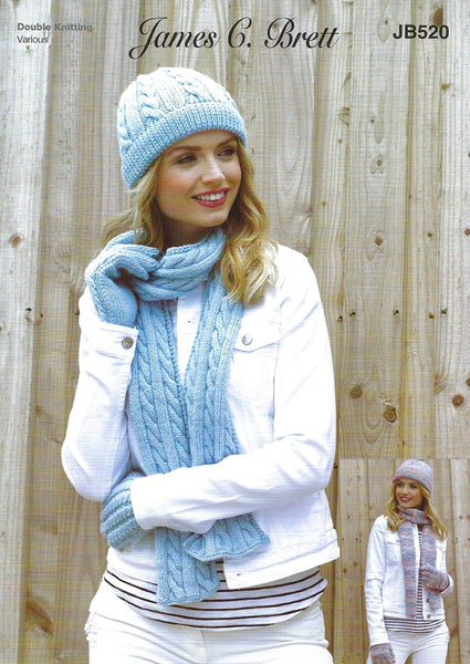 James C Brett JB520 - Ladies Hats, Scarves & Gloves in DK Pattern
