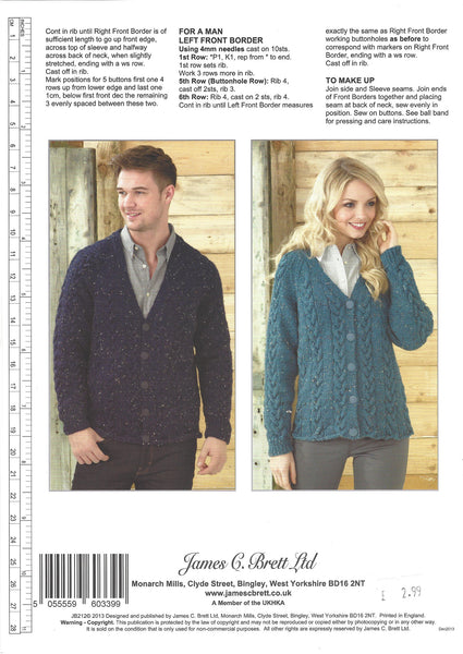James C Brett JB212 - Mens & Ladies Cardigans in Aran Pattern - The Crafty Knitter Ltd - 2