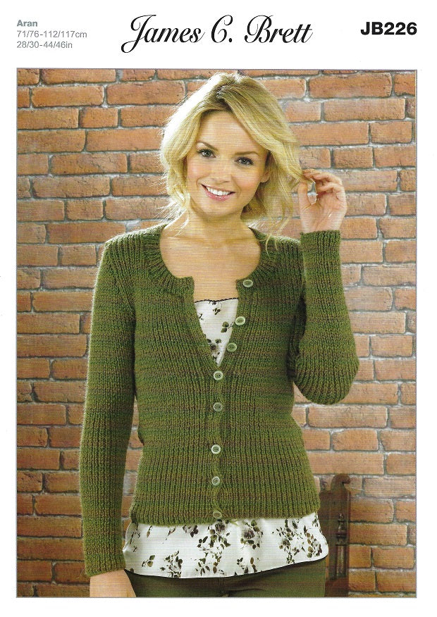 James C Brett JB226 - Ladies Cardigan in Aran Pattern