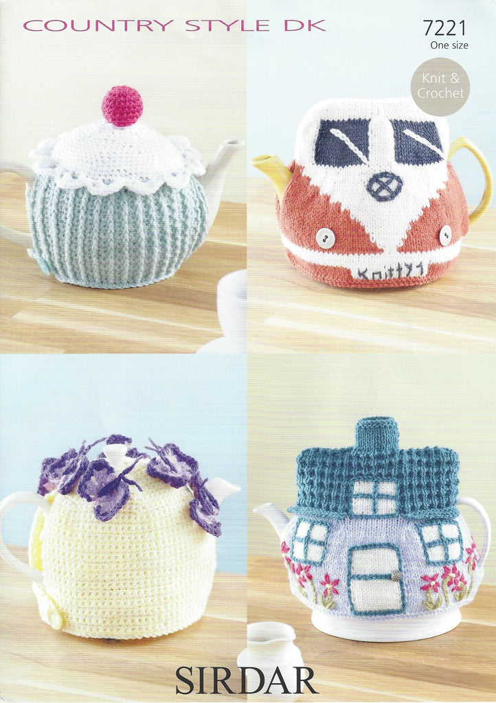 Sirdar 7221 - Knit & Crochet Tea Cosies in Country Style DK Pattern - The Crafty Knitter Ltd - 1