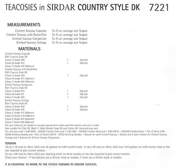 Sirdar 7221 - Knit & Crochet Tea Cosies in Country Style DK Pattern - The Crafty Knitter Ltd - 2