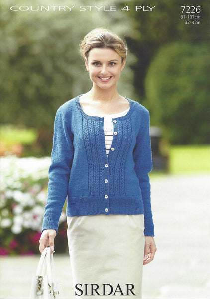 Sirdar 7226 - Ladies Cardigan in Country Style 4 Ply Pattern - The Crafty Knitter Ltd - 1