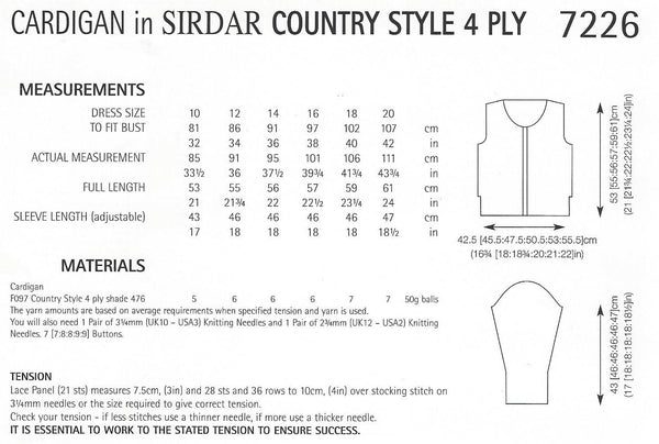 Sirdar 7226 - Ladies Cardigan in Country Style 4 Ply Pattern - The Crafty Knitter Ltd - 2