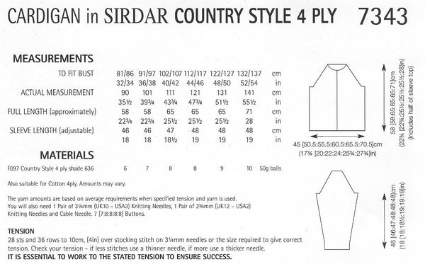 Sirdar 7343 - Ladies Cardigan in Country Style 4 Ply Pattern - The Crafty Knitter