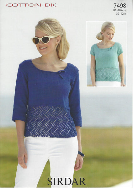 Sirdar 7498 - Ladies Tops in Sirdar Cotton DK Pattern - The Crafty Knitter