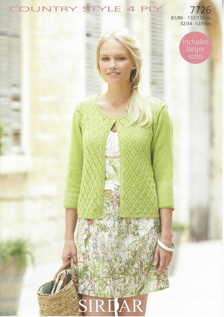 Sirdar 7726 - Ladies Cardigan in Country Style 4 Ply Pattern - The Crafty Knitter