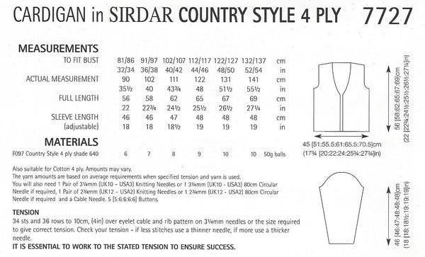 Sirdar 7727 - Ladies Cardigan in Country Style 4 Ply Pattern - The Crafty Knitter
