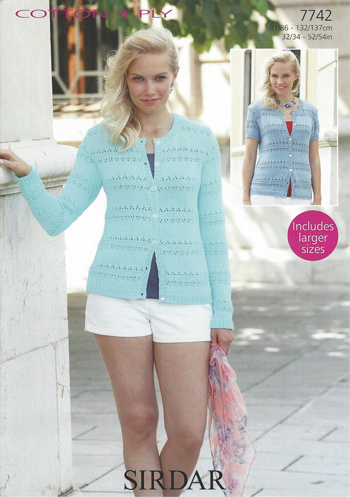 Sirdar 7742 - Ladies Cardigan in Sirdar Cotton 4 Ply Pattern - The Crafty Knitter