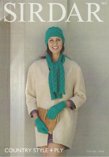 Sirdar 7837 - Ladies Hat, Scarf & Gloves in Country Style 4 Ply Pattern - The Crafty Knitter