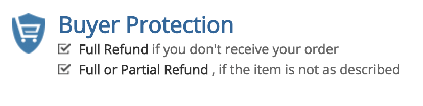 Image result for Buyer Protection Full Refund if you don't receive your order Full or Partial Refund ,