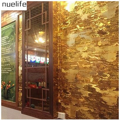 0.53x10m Ching Ming River on the map wallpaper  landscape gold pattern KTV restaurant  classical Chinese decoration wallpaper