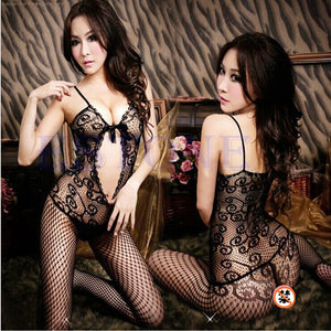 1 PC New Women Sexy Open Crotch Stockings Crotchless Fishnet Sheer Body Dress Lingerie