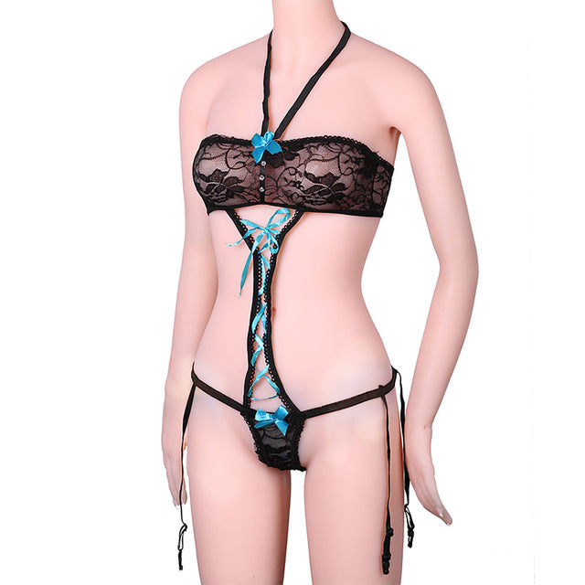 1 Pcs Hot Sexy Underwear Women Bow Sexy Lingerie Ladies Transparent Conjoined Dress Suit Clothes for Sex Toys