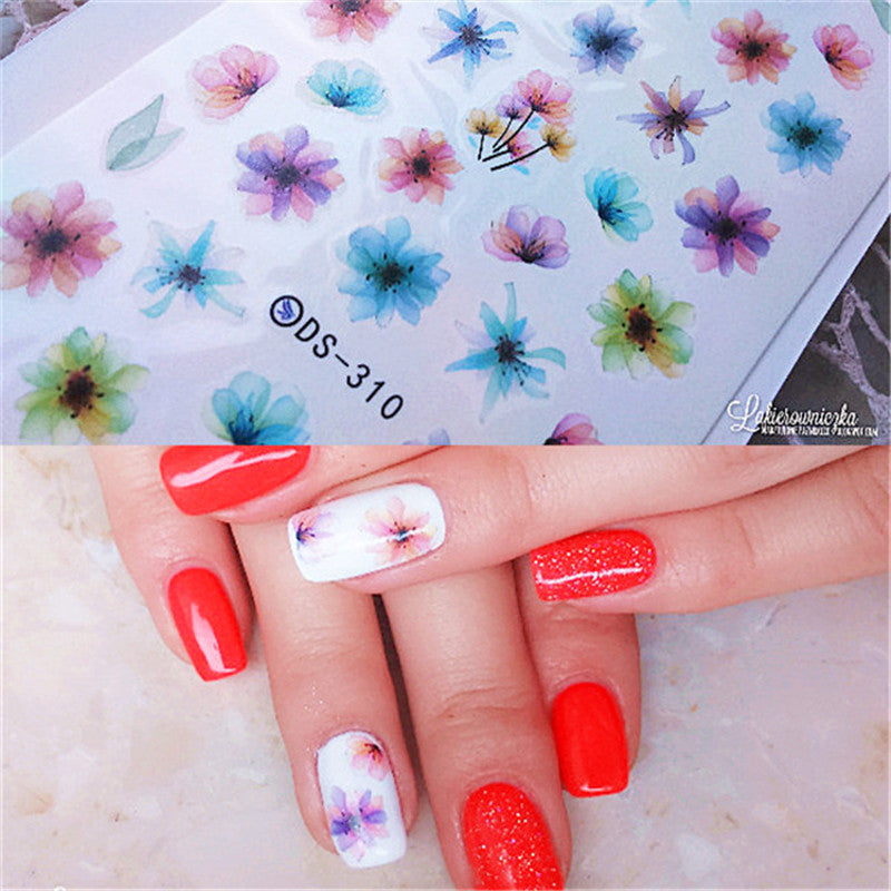 1 Sheet Colorful Nail Art Water Decals Chinese Ink Flower Painting Nail Transfer Stickers Nail Art DIY DS-310
