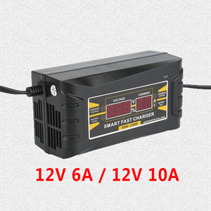 10A 12V Full Automatic Car Battery Charger 110V to 220V Intelligent Fast Power Charging Wet Dry Lead Acid Digital LCD Display
