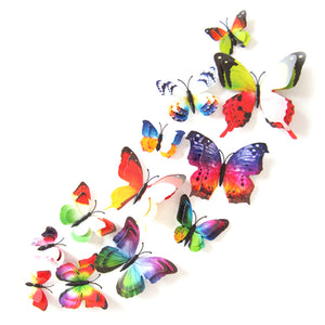 12Pcs/Lot DIY 3D Butterfly Wall Stickers Home Decor for Living Room Bedroom Kitchen Toilet Festival Party Wedding Decoration