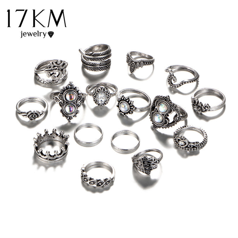 17KM 16 PCS/set Vintage Hand Knuckle Opal Finger Ring Set For Women Leaf Flower Heart Crown Rings Ethnic Boho Statement Jewelry