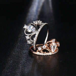 17KM Wedding Jewelry Finger Crystal Heart Crown Rings For Women New Lover Cubic Zirconia Ring Female Engagement Party Wholesale