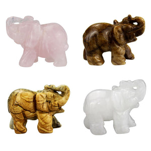 2 Inch Crystal Elephant Figurines Craft Carved Natural Stone Mineral