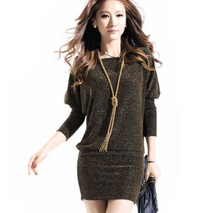 2016 Autumn Women Dress Batwing Sleeve Casual Dresses Winter Clothing