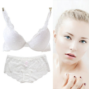 2016 NEWEST Women A/B/C Cup Push Up Bra Set Sexy V -Neck Plunge Lace Bra + Briefs , lace bra sexy lingerie bra Free Shipping