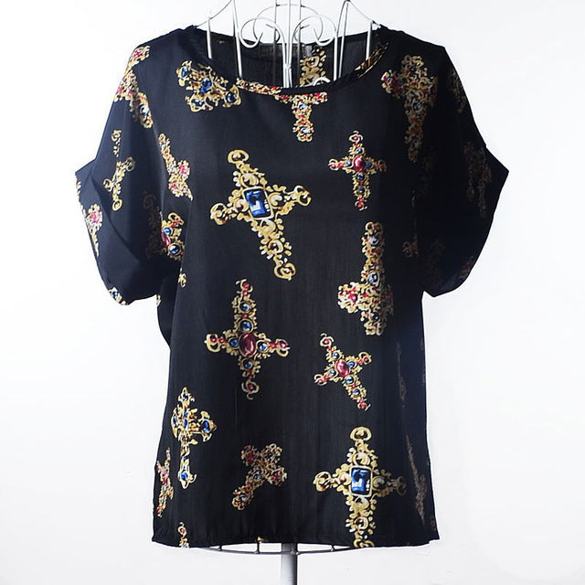 2017 Batwing Sleeve Women Blouses Clothing Casual Chiffon Shirt Blusas Tops Heart Animal Stripe Leopard Print Pattern