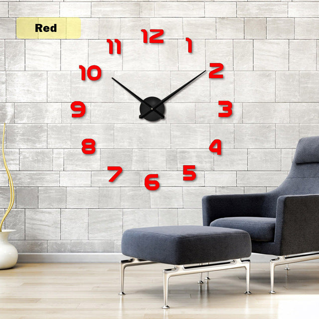 2017  Free Shipping New Clock Watch Wall Clocks Horloge 3d Diy Acrylic Mirror Stickers Home Decoration Living Room Quartz Needle