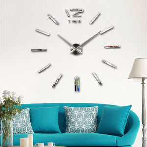 2017 New Arrival Quartz Clocks fashion watches 3D real big wall clock rushed mirror sticker DIY living room decor Free Shipping