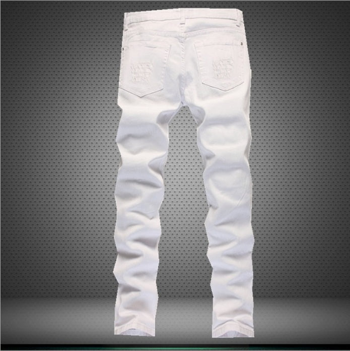 2017 New Fashion Mid Waist Ripped Jeans Men With Holes Denim Super Skinny Famous Designer Brand Slim Fit Jeans  black white red