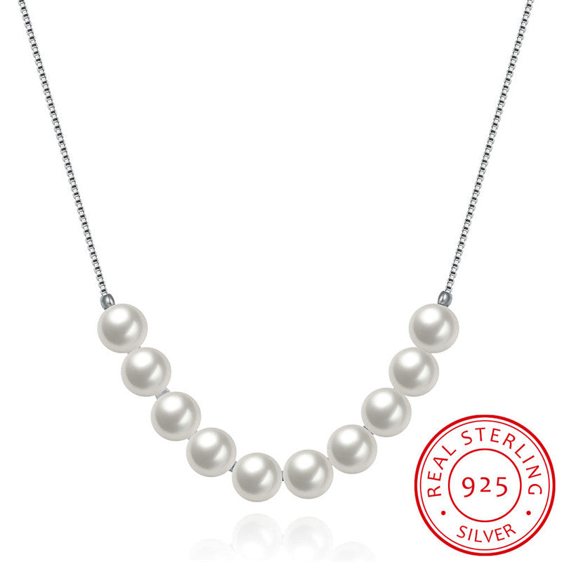2017 New Fashion Natural Shell Pearl jewelry Necklace for Women 925 sterling silver chain Jewelry Pearl necklaces & pendants