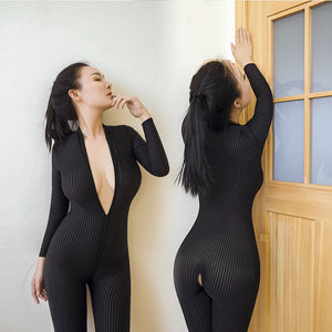 2017 New Sexy Lingerie for Women Open Crotch Black Striped Sheer Bodystocking Bodysuit Smooth Fiber Double Zipper Long Sleeves