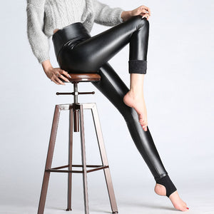 2017 New Women Elastic Velvet Pants Thick Female PU Leather Pants High Waist Warm Winter Sexy Slim Plus Size Pencil Trousers