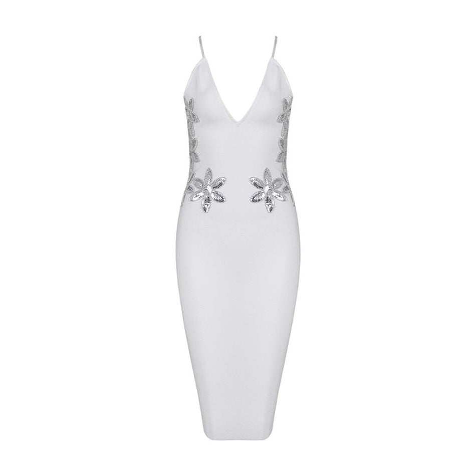2017 Newest Winter Bandage Dress Women Celebrity Party White Spaghetti Strap V-Neck Sequined Sexy Night Out Dress Women Vestidos