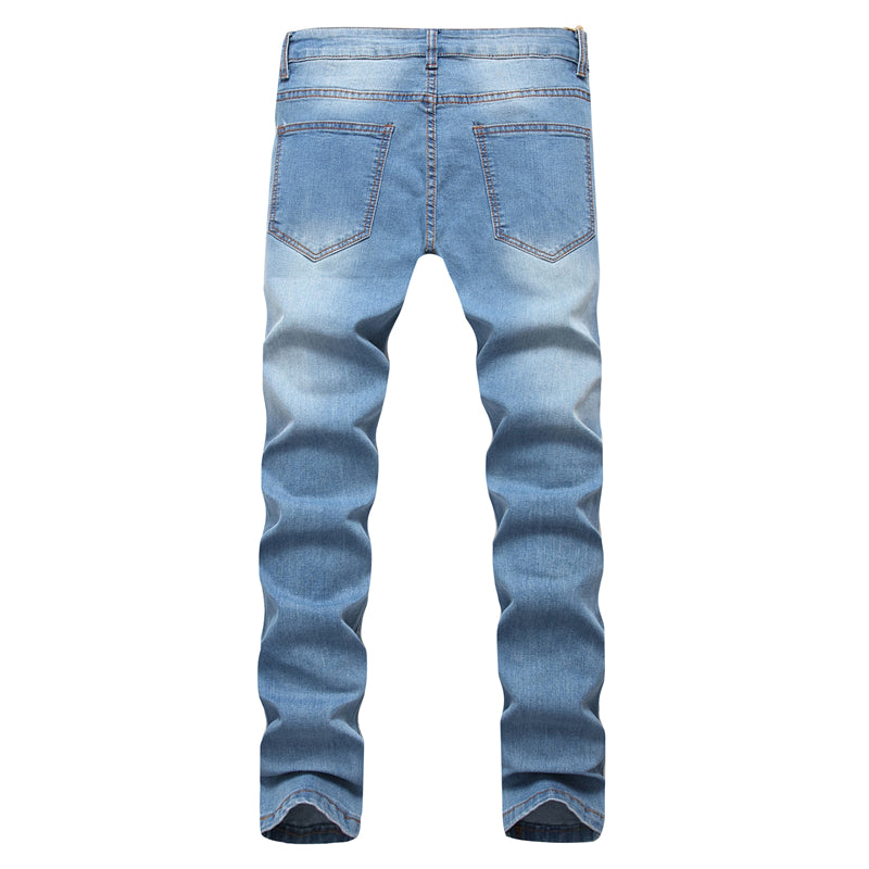 2017 Ripped new Men Jeans Pants Slim Fit Joggers Cotton elasticity Destroyed High Street Solid Hip hop Male Denim Trousers