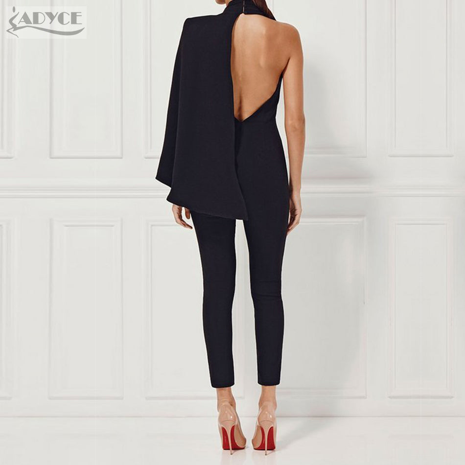 2017 Winter Celebrity Runway Jumpsuit Black Deep V-Neck Halter half Batwing Sleeve Rompers Women Jumpsuit Sexy Bodycon Bodysuits