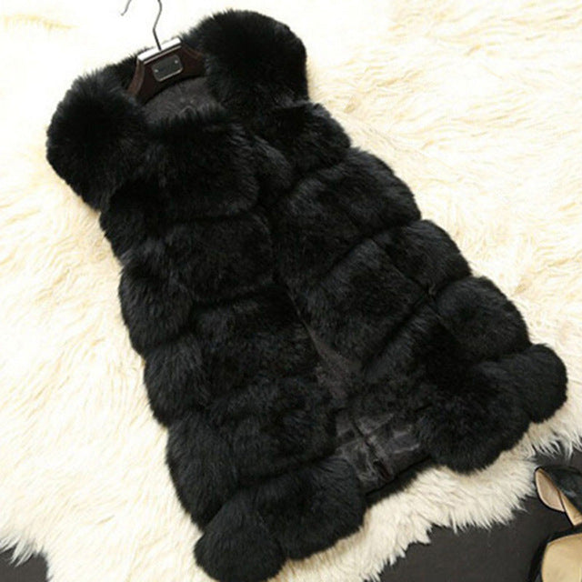 2017 Winter Warm Luxury Fur Vest for Women Faux Fur Coat Vests Women's Coats Jacket High Quality Furry Coat