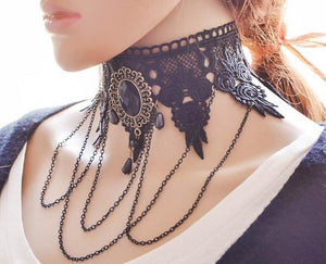 2017 fashion Gothic Victorian Crystal Tassel Tattoo Choker Necklace Black Lace Collar Vintage Women Wedding Jewelry