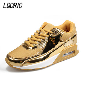 2017 gold silver new PU high quality men women lovers running sports shoes air jogging sneakers outdoor athletic trainers shoes