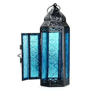 2017 moroccan lanterns Glass Metal Delight Garden Candle Holder Table/Hanging Lantern for both indoors and outdoors blue/ purple