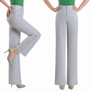 2017 new summer Fashion casual loose plus size high waist Cotton Linen straight female women pants trousers clothes 79074