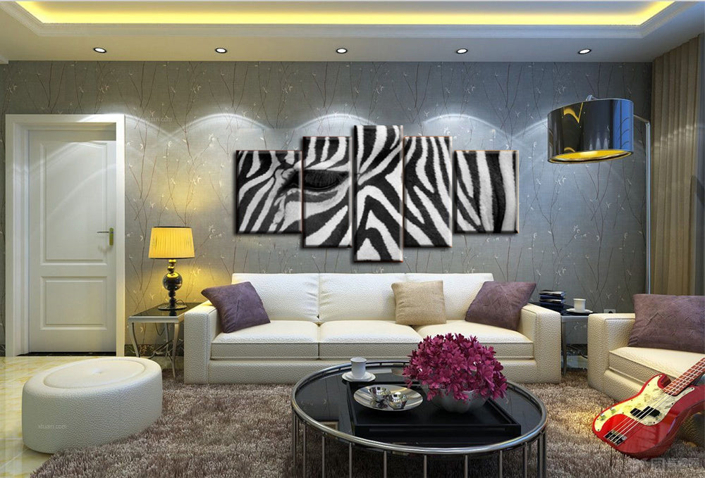 2017 unframed 5 piece canvas art zebra painting decorative canvas painting oil black and white wall pictures for living room