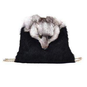 2017 women shoulder bag faux fox Fur Women Handbags Winter Shoulder Bag luxury Fur lady Messenger Bag fox shapeTote clutches