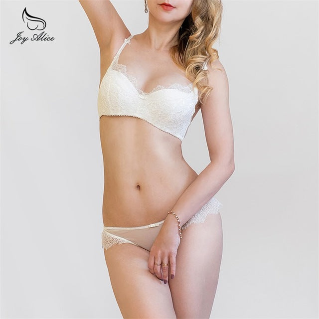 2018 New Arrival Girls Underwear Set Push-up Thin Cotton Half Cup Lace Bra And Panty Set Women Lingerie Big Size Bra set